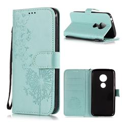Intricate Embossing Dandelion Butterfly Leather Wallet Case for Motorola Moto E5 Play - Green