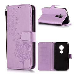 Intricate Embossing Dandelion Butterfly Leather Wallet Case for Motorola Moto E5 Play - Purple