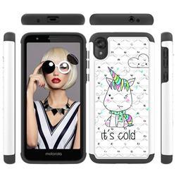 Tiny Unicorn Studded Rhinestone Bling Diamond Shock Absorbing Hybrid Defender Rugged Phone Case Cover for Motorola Moto E6