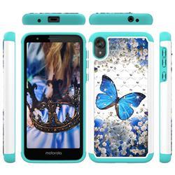 Flower Butterfly Studded Rhinestone Bling Diamond Shock Absorbing Hybrid Defender Rugged Phone Case Cover for Motorola Moto E6