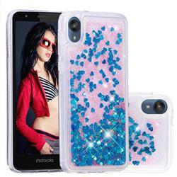 Dynamic Liquid Glitter Quicksand Sequins TPU Phone Case for Motorola Moto E6 - Blue