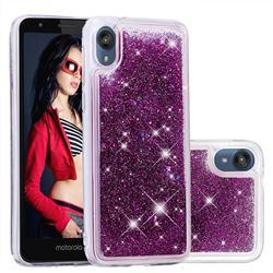 Dynamic Liquid Glitter Quicksand Sequins TPU Phone Case for Motorola Moto E6 - Purple