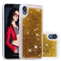 Dynamic Liquid Glitter Quicksand Sequins TPU Phone Case for Motorola Moto E6 - Golden