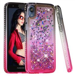 Diamond Frame Liquid Glitter Quicksand Sequins Phone Case for Motorola Moto E6 - Gray Pink