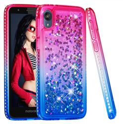 Diamond Frame Liquid Glitter Quicksand Sequins Phone Case for Motorola Moto E6 - Pink Blue