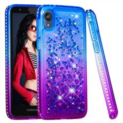Diamond Frame Liquid Glitter Quicksand Sequins Phone Case for Motorola Moto E6 - Blue Purple