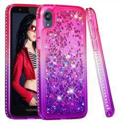 Diamond Frame Liquid Glitter Quicksand Sequins Phone Case for Motorola Moto E6 - Pink Purple