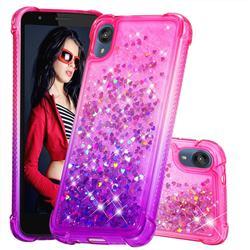 Rainbow Gradient Liquid Glitter Quicksand Sequins Phone Case for Motorola Moto E6 - Pink Purple