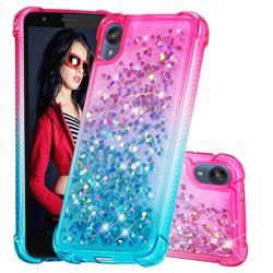 Rainbow Gradient Liquid Glitter Quicksand Sequins Phone Case for Motorola Moto E6 - Pink Blue