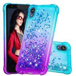 Rainbow Gradient Liquid Glitter Quicksand Sequins Phone Case for Motorola Moto E6 - Blue Purple