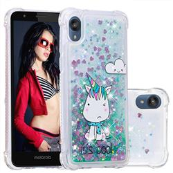 Tiny Unicorn Dynamic Liquid Glitter Sand Quicksand Star TPU Case for Motorola Moto E6