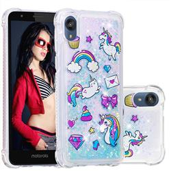 Fashion Unicorn Dynamic Liquid Glitter Sand Quicksand Star TPU Case for Motorola Moto E6