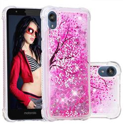 Pink Cherry Blossom Dynamic Liquid Glitter Sand Quicksand Star TPU Case for Motorola Moto E6