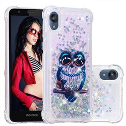 Sweet Gray Owl Dynamic Liquid Glitter Sand Quicksand Star TPU Case for Motorola Moto E6