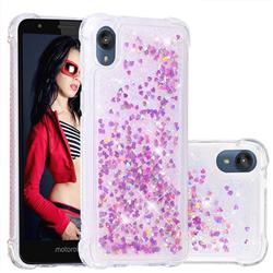 Dynamic Liquid Glitter Sand Quicksand Star TPU Case for Motorola Moto E6 - Rose