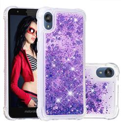 Dynamic Liquid Glitter Sand Quicksand Star TPU Case for Motorola Moto E6 - Purple