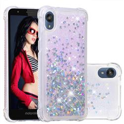Dynamic Liquid Glitter Sand Quicksand Star TPU Case for Motorola Moto E6 - Silver