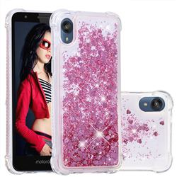 Dynamic Liquid Glitter Sand Quicksand Star TPU Case for Motorola Moto E6 - Diamond Rose