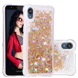 Dynamic Liquid Glitter Sand Quicksand Star TPU Case for Motorola Moto E6 - Diamond Gold
