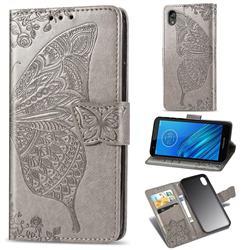 Embossing Mandala Flower Butterfly Leather Wallet Case for Motorola Moto E6 - Gray