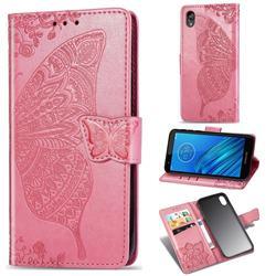 Embossing Mandala Flower Butterfly Leather Wallet Case for Motorola Moto E6 - Pink