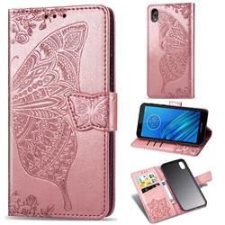 Embossing Mandala Flower Butterfly Leather Wallet Case for Motorola Moto E6 - Rose Gold