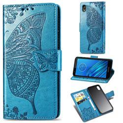 Embossing Mandala Flower Butterfly Leather Wallet Case for Motorola Moto E6 - Blue
