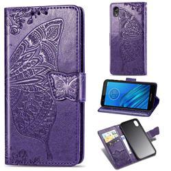 Embossing Mandala Flower Butterfly Leather Wallet Case for Motorola Moto E6 - Dark Purple