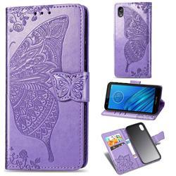 Embossing Mandala Flower Butterfly Leather Wallet Case for Motorola Moto E6 - Light Purple