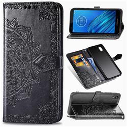 Embossing Imprint Mandala Flower Leather Wallet Case for Motorola Moto E6 - Black