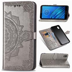 Embossing Imprint Mandala Flower Leather Wallet Case for Motorola Moto E6 - Gray