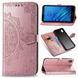 Embossing Imprint Mandala Flower Leather Wallet Case for Motorola Moto E6 - Rose Gold