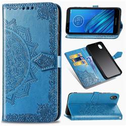 Embossing Imprint Mandala Flower Leather Wallet Case for Motorola Moto E6 - Blue