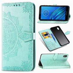 Embossing Imprint Mandala Flower Leather Wallet Case for Motorola Moto E6 - Green
