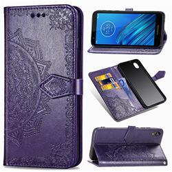 Embossing Imprint Mandala Flower Leather Wallet Case for Motorola Moto E6 - Purple