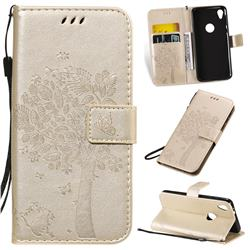 Embossing Butterfly Tree Leather Wallet Case for Motorola Moto E6 - Champagne