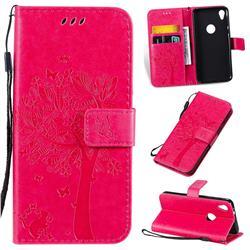Embossing Butterfly Tree Leather Wallet Case for Motorola Moto E6 - Rose