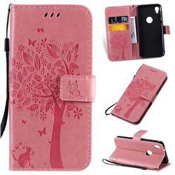 Embossing Butterfly Tree Leather Wallet Case for Motorola Moto E6 - Pink