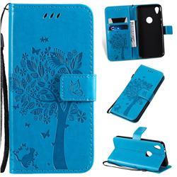 Embossing Butterfly Tree Leather Wallet Case for Motorola Moto E6 - Blue