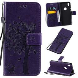 Embossing Butterfly Tree Leather Wallet Case for Motorola Moto E6 - Purple