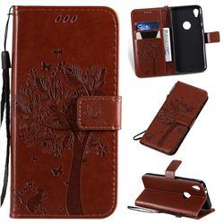 Embossing Butterfly Tree Leather Wallet Case for Motorola Moto E6 - Coffee