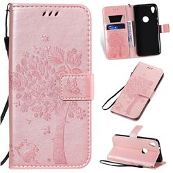 Embossing Butterfly Tree Leather Wallet Case for Motorola Moto E6 - Rose Pink