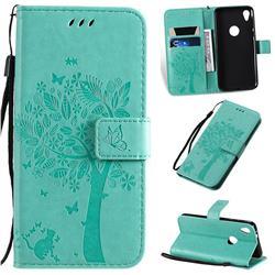 Embossing Butterfly Tree Leather Wallet Case for Motorola Moto E6 - Cyan