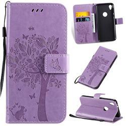 Embossing Butterfly Tree Leather Wallet Case for Motorola Moto E6 - Violet