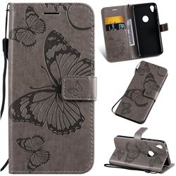 Embossing 3D Butterfly Leather Wallet Case for Motorola Moto E6 - Gray