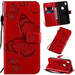 Embossing 3D Butterfly Leather Wallet Case for Motorola Moto E6 - Red