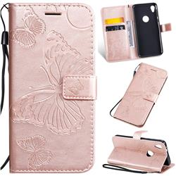 Embossing 3D Butterfly Leather Wallet Case for Motorola Moto E6 - Rose Gold