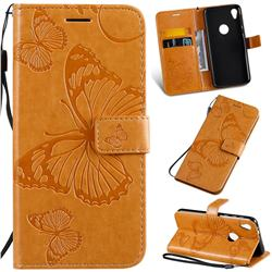 Embossing 3D Butterfly Leather Wallet Case for Motorola Moto E6 - Yellow