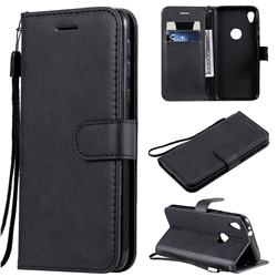 Retro Greek Classic Smooth PU Leather Wallet Phone Case for Motorola Moto E6 - Black