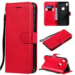 Retro Greek Classic Smooth PU Leather Wallet Phone Case for Motorola Moto E6 - Red